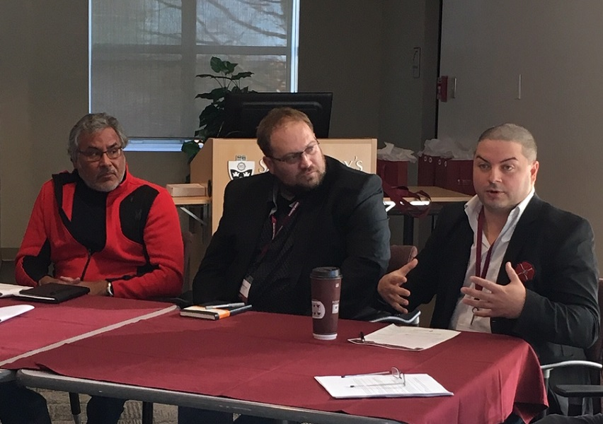 Raymond Sewell, SMU's Indigenous Student Advisor, joined colleagues from SMU, Mount Saint Vincent and Dalhousie to discuss ongoing progress with 'Indigenizing' curriculum at universities in the region.