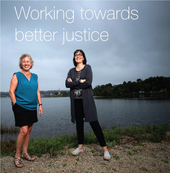 Sue Bookchin (l), Executive Director, Be the Peace Institute with Dr. Diane Crocker, Associate Professor of Criminology (SMU).