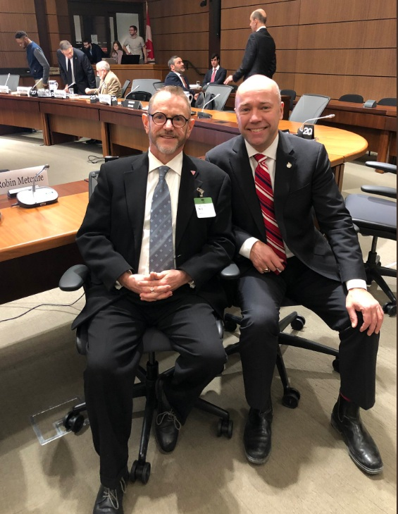 Robin Metcalfe (l) received a warm welcome from Andy Fillmore, MP for Halifax and Parliamentary Secretary to the Minister of Canadian Heritage.