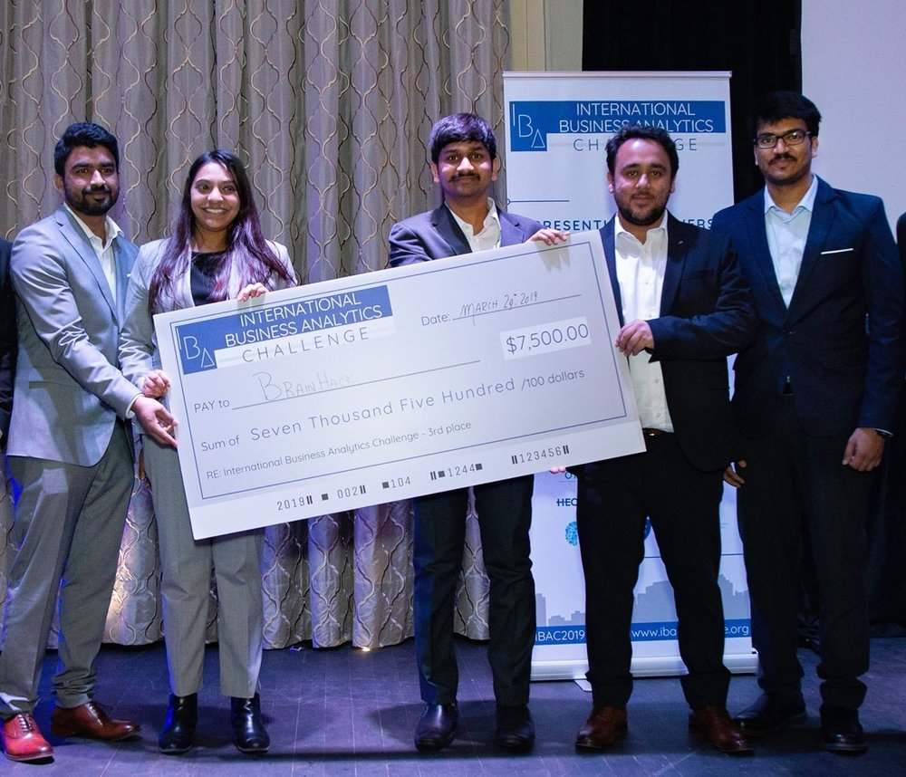 MSc CDA students Sonam Vadsaria, Narasimha Rao Durgam, Sri Akhil Reddy Kovvuri, Sreeraj Punnoli, and Ravneet Singh Oberoi with their $7,500 prize.