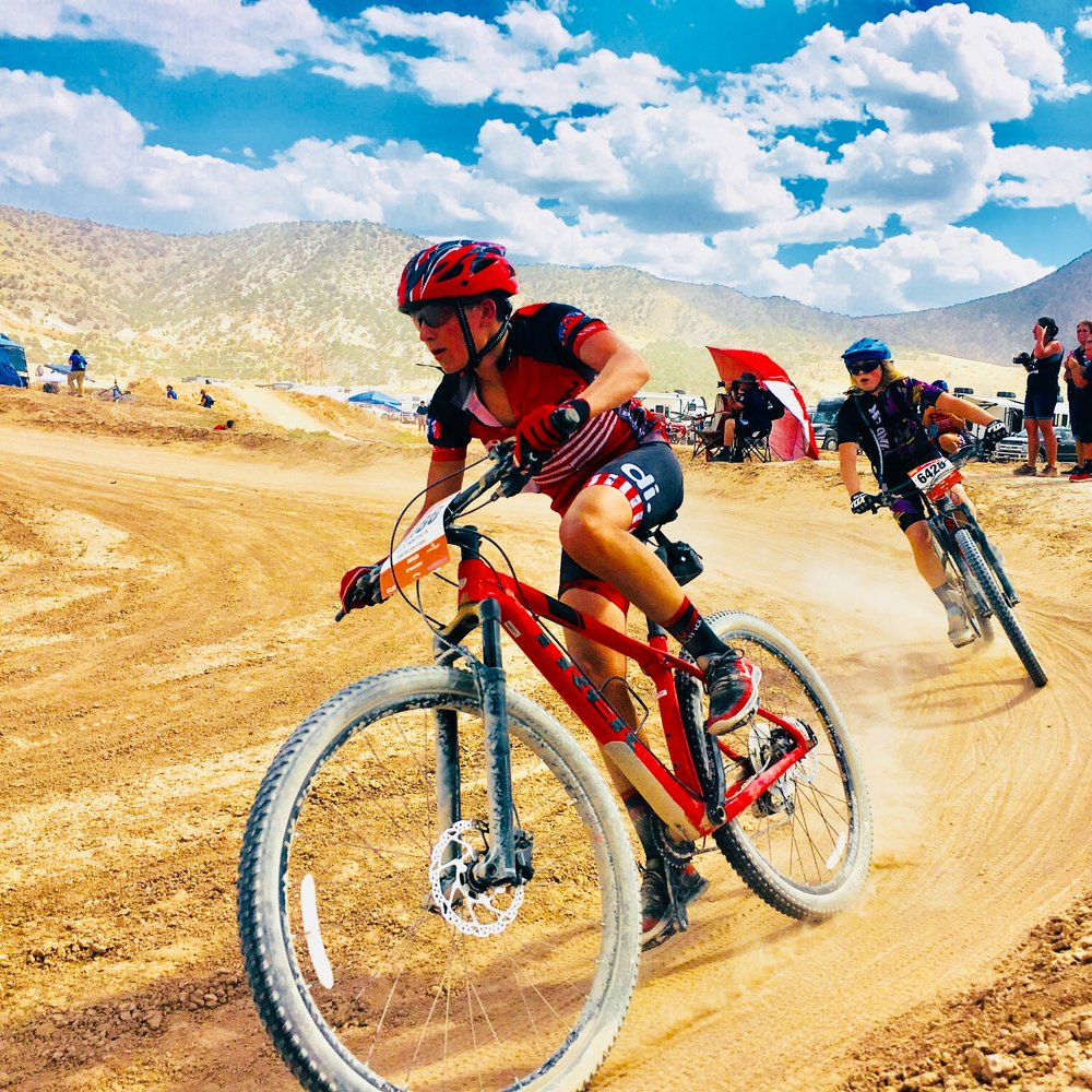 Nate Wirthlin in a mountain bike race, one of the most rewarding experiences he's had in his life thus far.