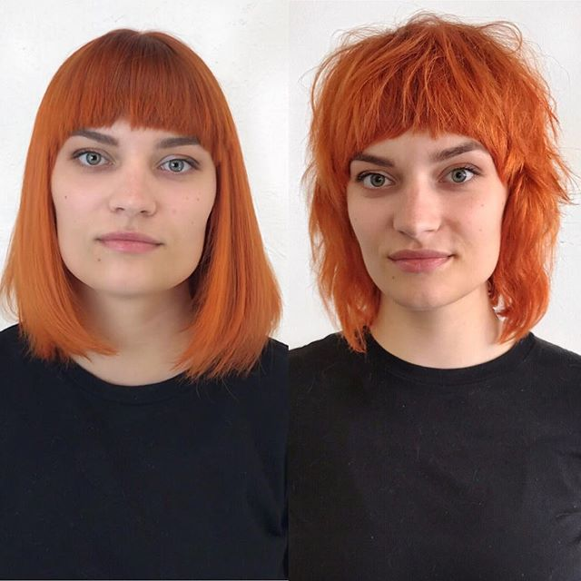 Fun change on @merinanovak  color by @mac.manes cut and style by @brianhickman1  @local_honey styled with #randco  #hairbrained  #texture #americansalon #hairbybrianhickman #localhoneynashville #eastnashville #nashville  #modernsalon  #texture  #bob #photoshoot #makeover #transformation #beforeandafter #salon #hair #crafthairdresser  #portrait #art #fringe #bangs #haircut #hairstylist #hair #hairstyle #redhair