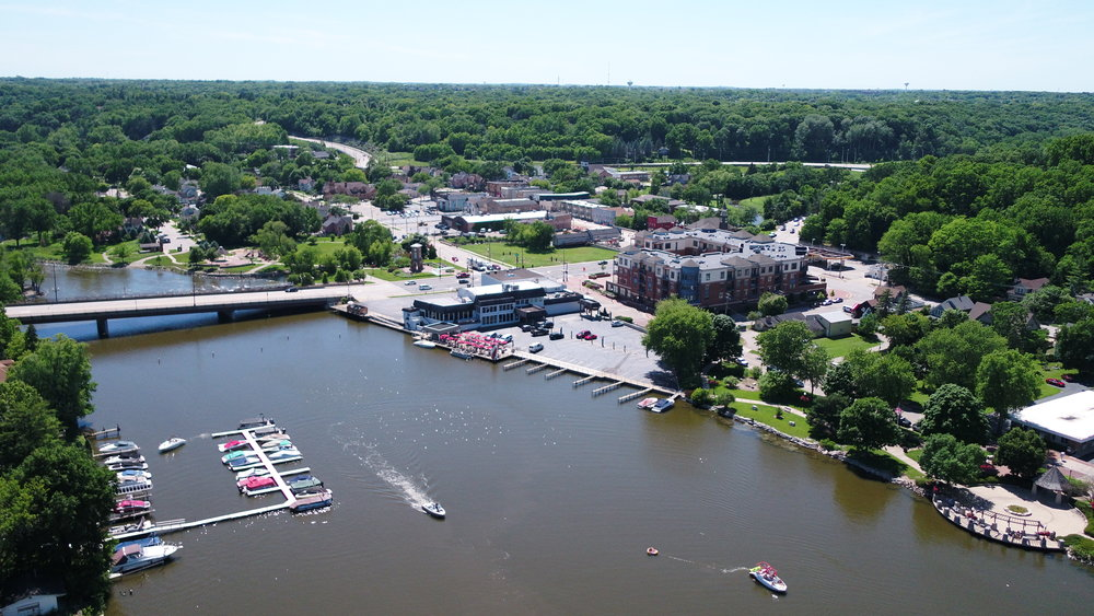 View of Downtown Algonquin from above the Fox River