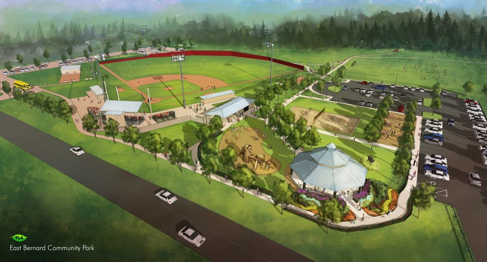 - One month after hiring Talley Landscape Architects, the City of East Bernard presents the rendering for their new Community Park.
