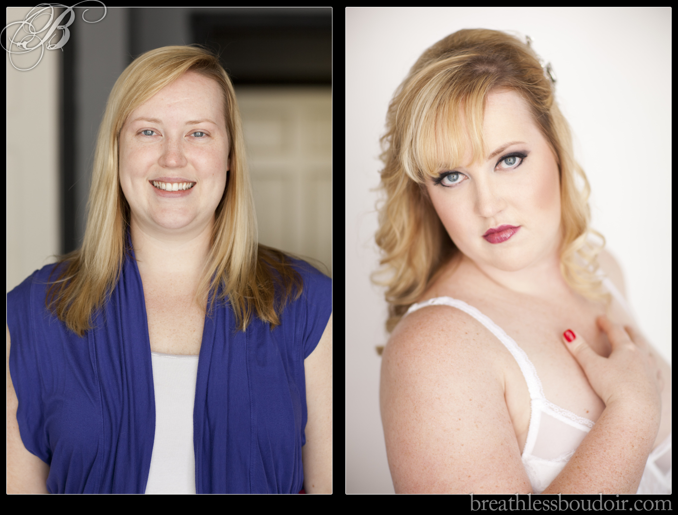 Before and after makeover ©2013 Breathless Boudoir