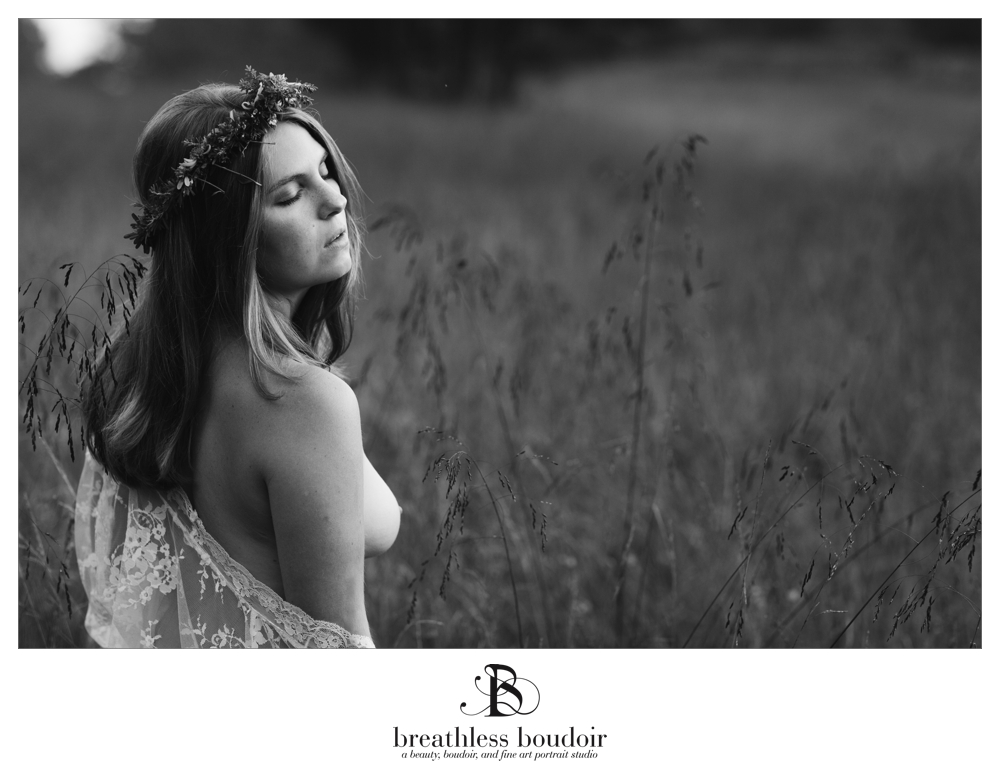 black and white nude in field charlottesville fine art photography