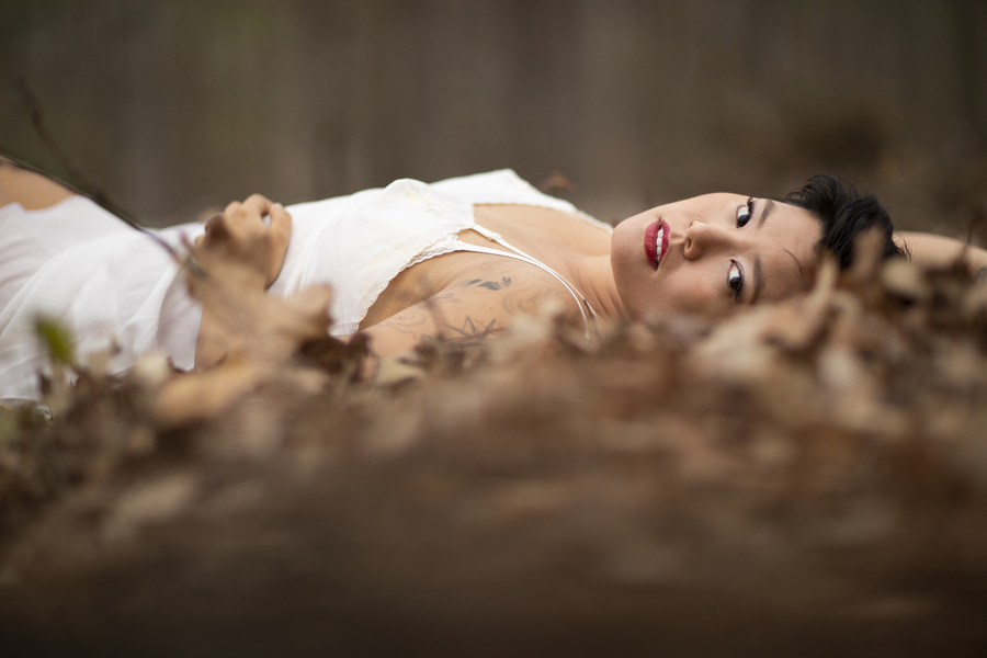 outdoor boudoir photography in nature red lips white slip