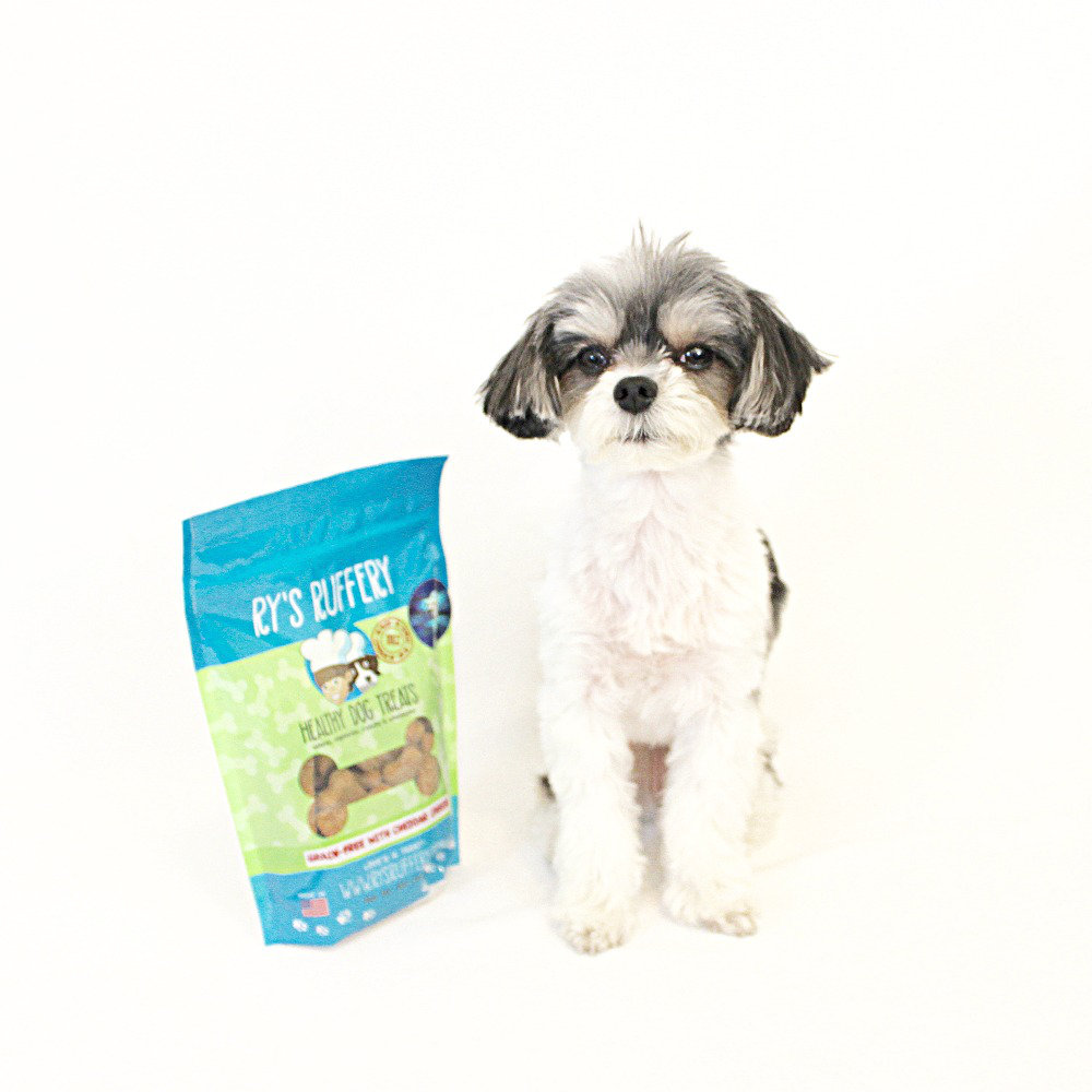"ry's ruffery dog treats - ($9.50)  tinkerbelle: ""the most delicious dog treats and they come in cheddar, pumpkin apple and peanut butter flavor"""