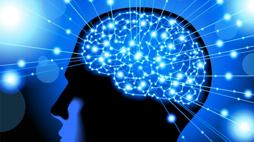 Human Brain blue lights