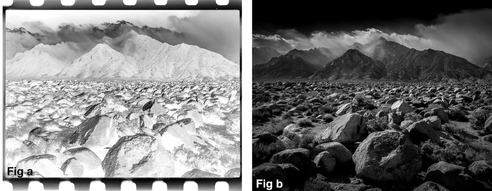 Film negative on left, final print on right..