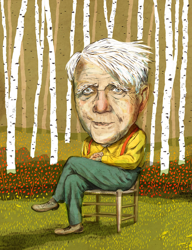 Robert Frost portrait for Amherst Magazine. Ronn Campisi, art director.