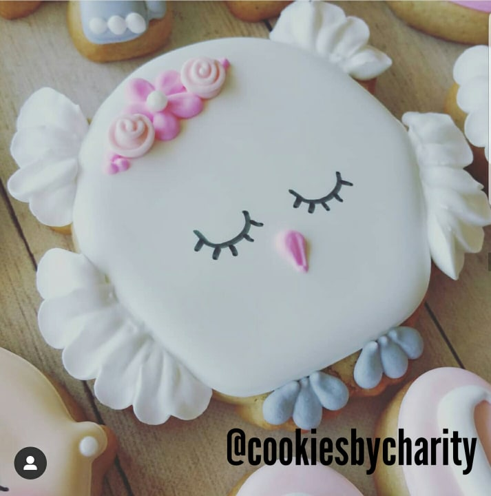 mADE BY @COOKIESBYCHARITY USING OUR WIZARD OWL COOKIE CUTTER