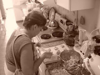 My grandma making cookies.