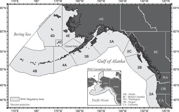 International Pacific Halibut Commission Regulatory areas
