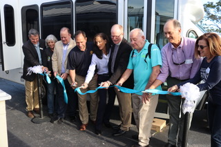 Ribbon Cutting for Beaches Dial-a-Ride's new para-transit vehicle. (L to R) Gary Tiller, Executive Director, Beaches Council on Aging; Ellen Glasser, Mayor, City of Atlantic Beach; Charlie Latham, Mayor, City of Jacksonville Beach; Michael Bruce, Rotary Club of Ponte Vedra Beach; Vickie Cavey, President, Rotary Club of Ponte Vedra Beach; Rev. Keith Oglesby, Associate Rector, Christ Episcopal Church; Henry Burnett, President, Beaches Council on Aging; Bill Buckingham, Beaches Community Fund; Tracy Westbrook, Beaches Community Fund.