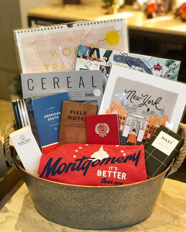 Got a friend with a serious case of #wanderlust - this is the #gift for the #traveler in your life! Custom #giftbasket features #printedmatter by @riflepaperco including wall prints and #calendar : @wildsam #guide to the American South : #cerealmag for #inspiration : #travel #notebooks and @poketo #pens : #montgomery #tee and @mastbrothers #chocolate and @littlebarnapothecary #skincare to keep everyone hyped and hydrated. Check out our #holidaygifts this week! #holidays #holidaygiftguide #forthetraveler #travelholic #roadtrip #givelove #shoplocal #shopsmall #designstore #uniquegifts #leolaandcroff #leolacroffshop