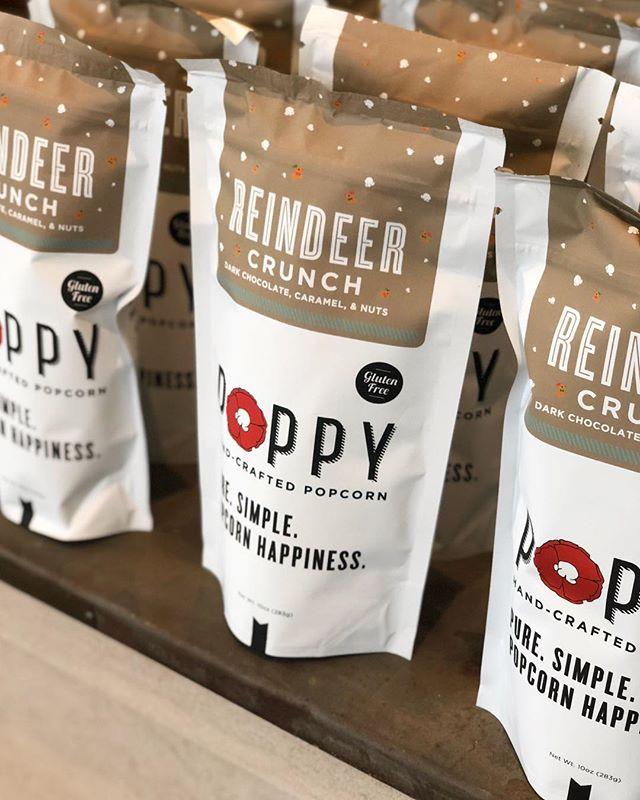 We've got another shipment of @poppyhandcraftedpopcorn Reindeer Crunch #chocolate #caramel #popcorn on the way - the perfect #holidaygift for #neighbors and #friends 🍿 #holidaygifts #holidaygiftguide #giftideas #gourmetfood #artisanfood #holidayshopping #shopsmall #montgomery #alabama #leolaandcroff #leolacroffshop