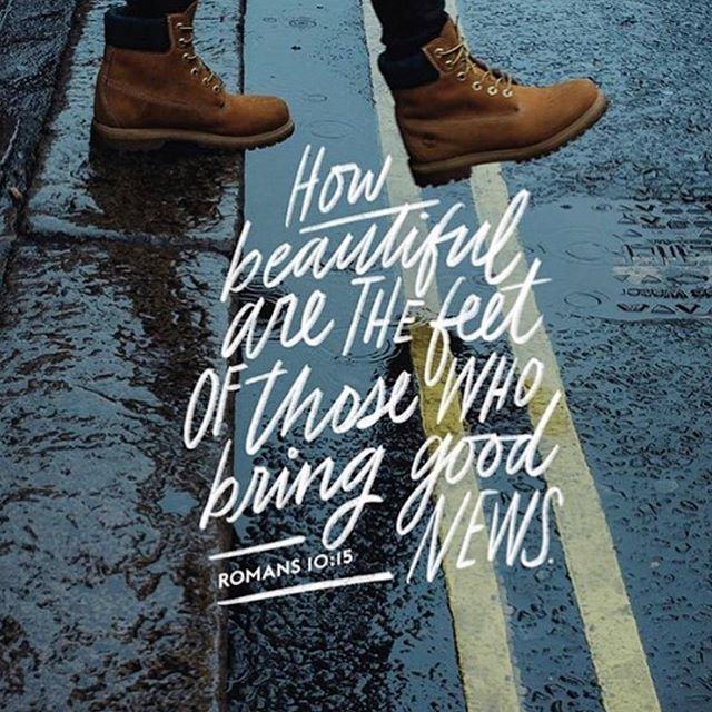 """How beautiful are the feet of those who bring good news."" Romans 10:15 ...Everywhere you step, you bring ENCOUNTERS of Gods love and glory. It's time to see Jesus on the streets. Where religion is gone and relationship and real is more important. 👟 #KingdomLifestyle  via @wearekingdomlifestyle"