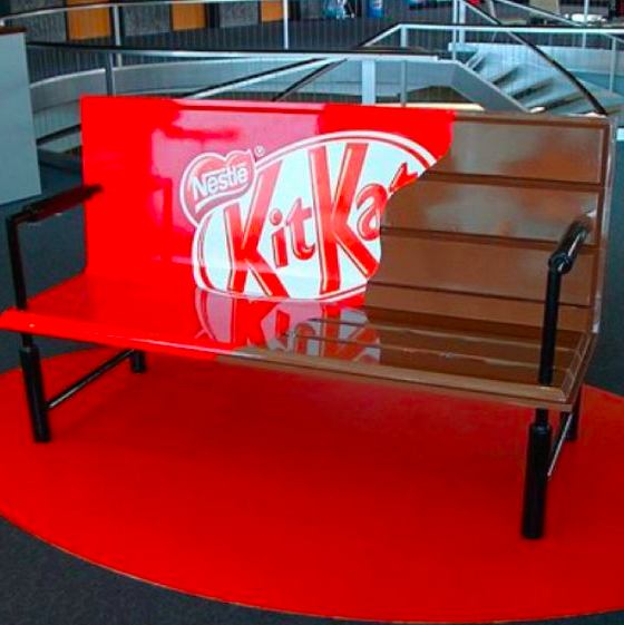 Bench painted to look like a Kit Kat