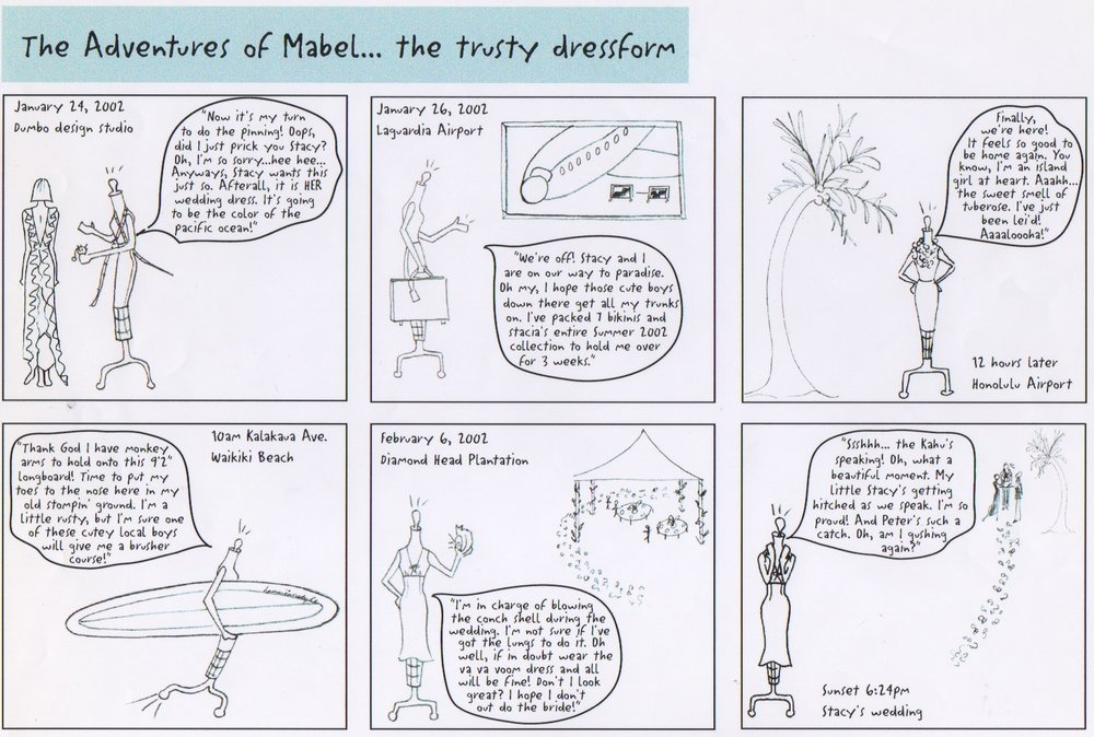 Another cartoon strip dated 2002 and her trip to Hawaii for the designer's wedding.