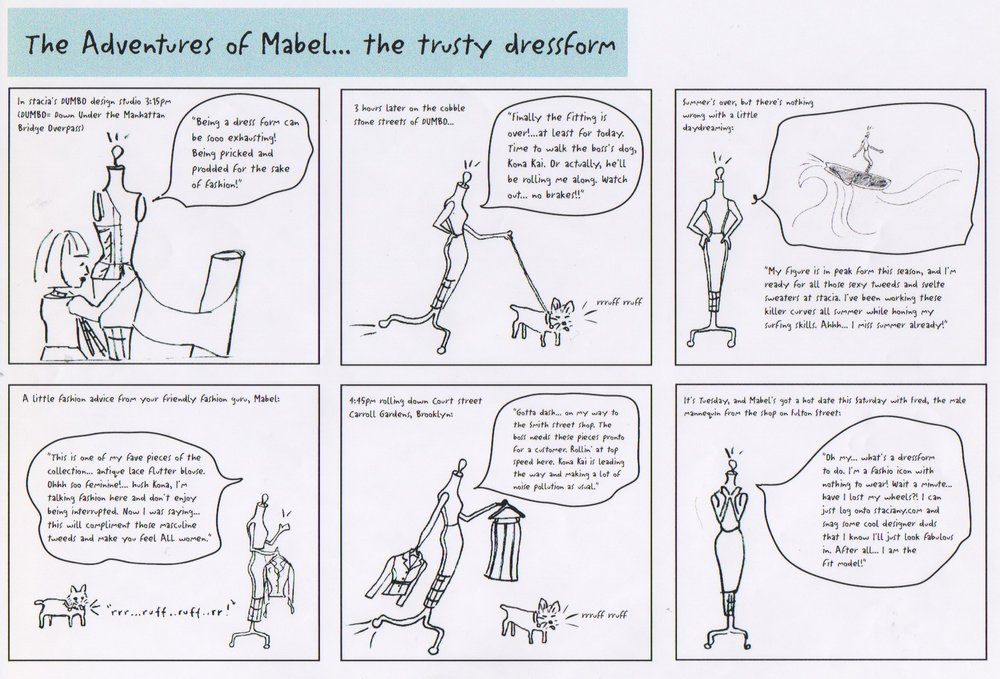The original cartoon strip from 1999 when Mabel was an animated feature on the e-commerce web site, stacianewyork.com.