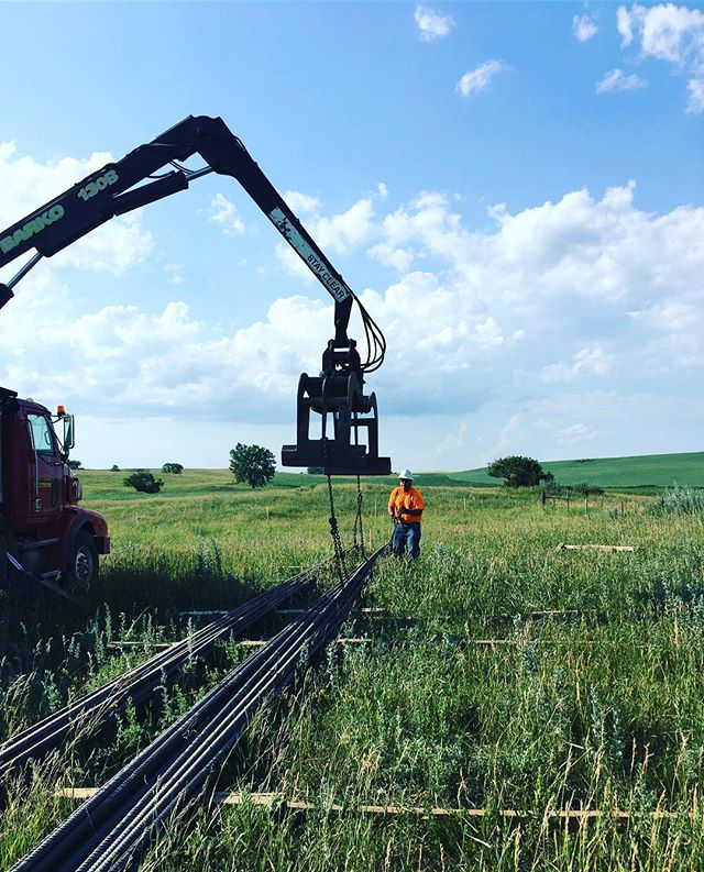 Setting one up on the line with #tristatedrilling #caisson #rebar #foundations #transmissionlines #mdrm #southdakota