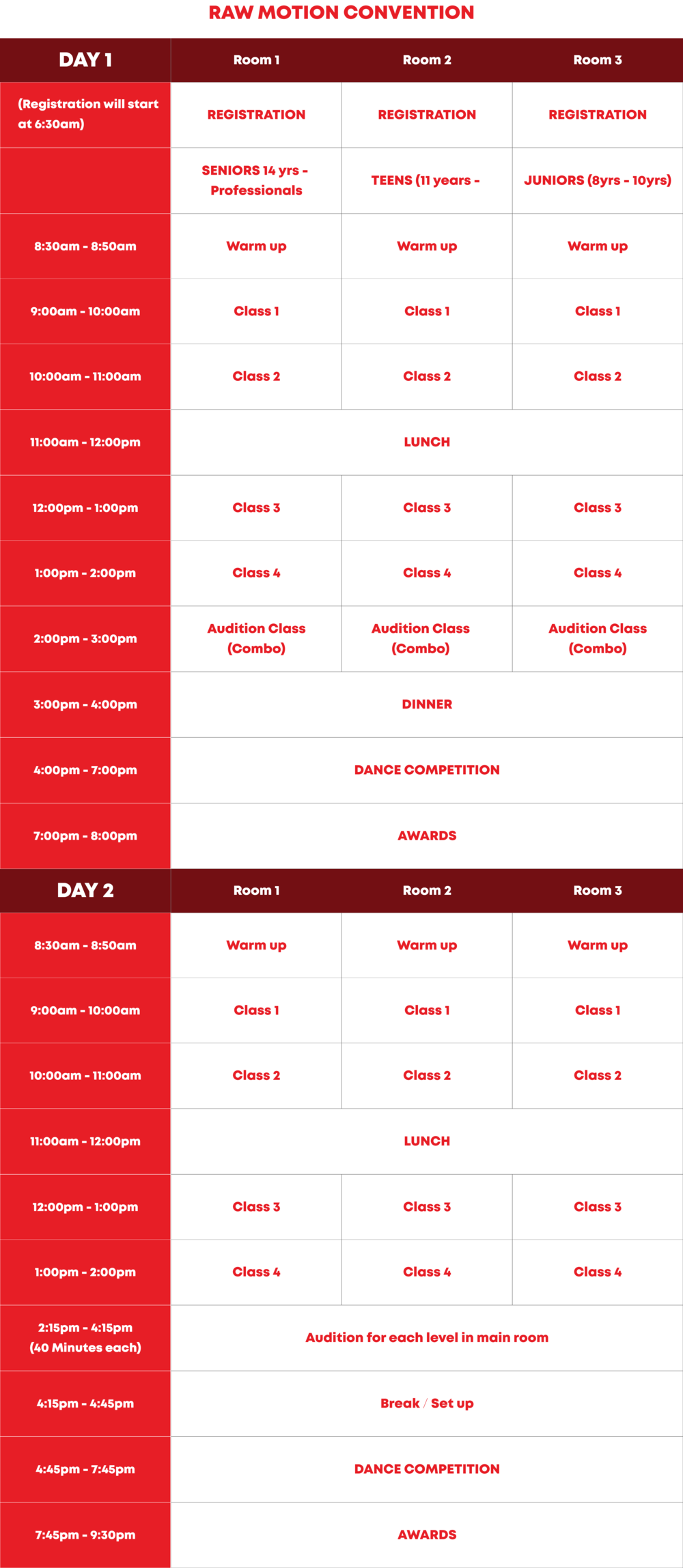 RAW Motion Convention Schedule