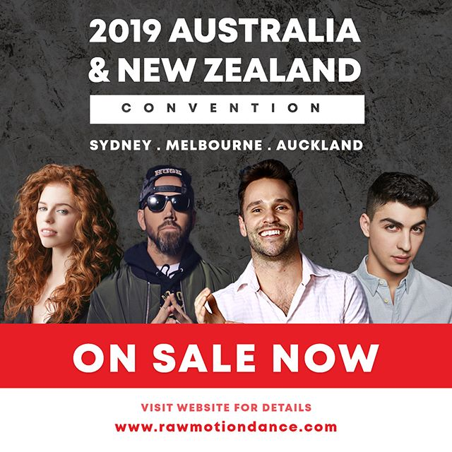 WE'RE OFFICIALLY ON-SALE! Hit the link in our bio to REGISTER NOW for our first Convention in Australia & New Zealand! This weekend event will include exclusive workshops with our international faculty @mrkudelka @nicklazzarini, @jordanclark, and @trevorflanny, a Solo Competition, and free Audition Classes! Stay tuned for more information 😏. Visit our website to secure your spot. #RAWAUSTRALIA #RAWNEWZEALAND #RAWMOTIONDANCE