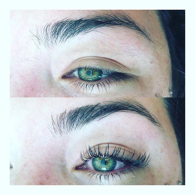Before and after Classic Lash set and brow clean up on this beauty @riamarin 💚 #lashextensions #brows #browartist #lashartist #thelittlecanary #beauty