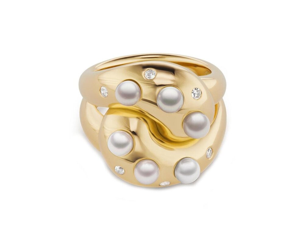 Brent Neale Pearl And Diamond Knot Ring Etc