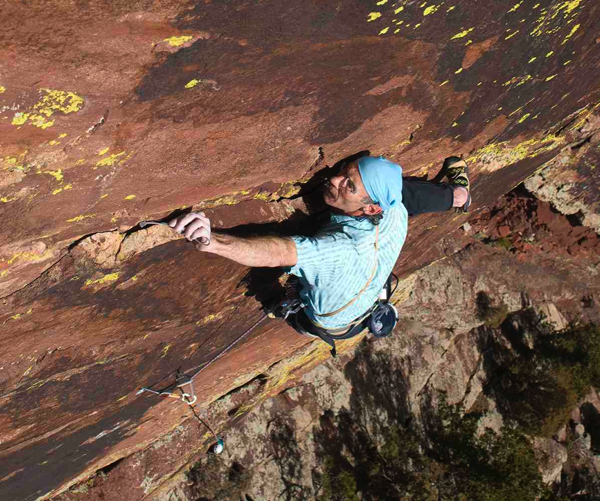 Roger Briggs on Incarnation - Eldorado Canyon (5.12 c/d) by Cody Blair