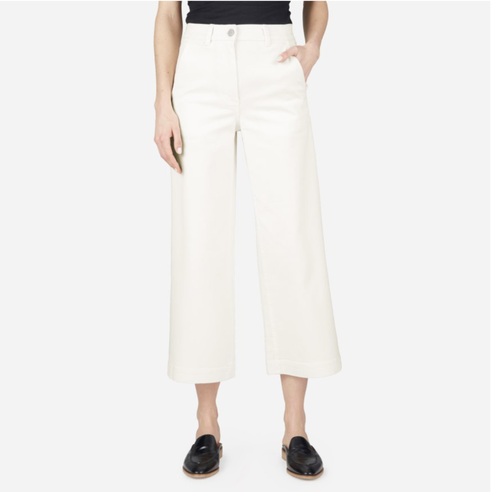 Everlane The Wide Leg Crop Pant - Bone