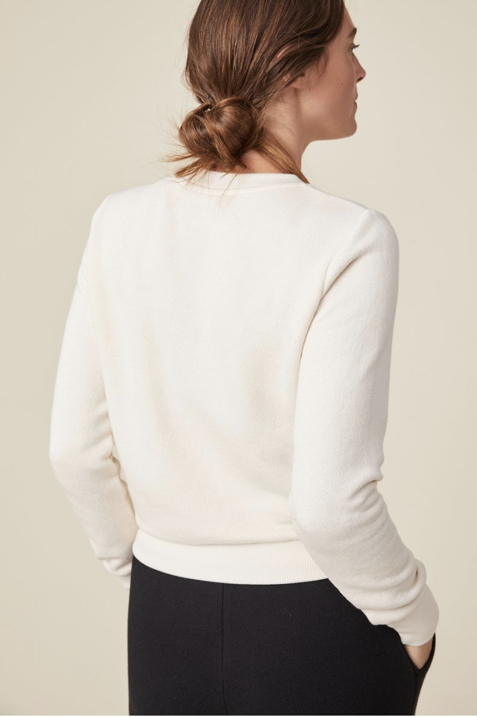 Amour Vert Beckett Shrunken Crewneck Sweatshirt in Ivory