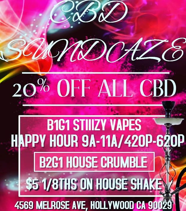 Come visit us Sunday 10/28 and enjoy Buy one Get one free STIIIZY Vapes, 20% off all CBD products, B2G1 House Crumble and $5 1/8ths on House Shake!