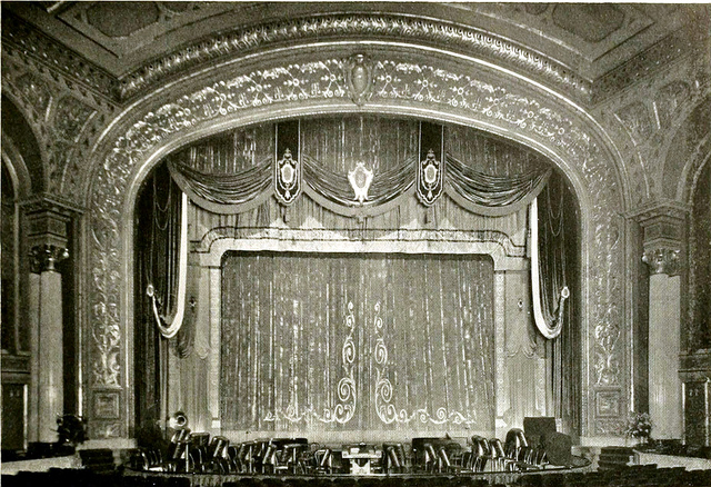 The proscenium arch at Stanley Theatre in Baltimore, 1928. Picture from  here .