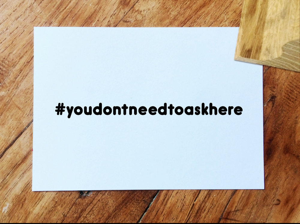 #youdontneedtoaskhere Ink Stamp  - 7cm - £30 | 4cm - £24 | Handmade in the UK | Environmentally sourced oak | Made to order | Alternative fonts available upon request