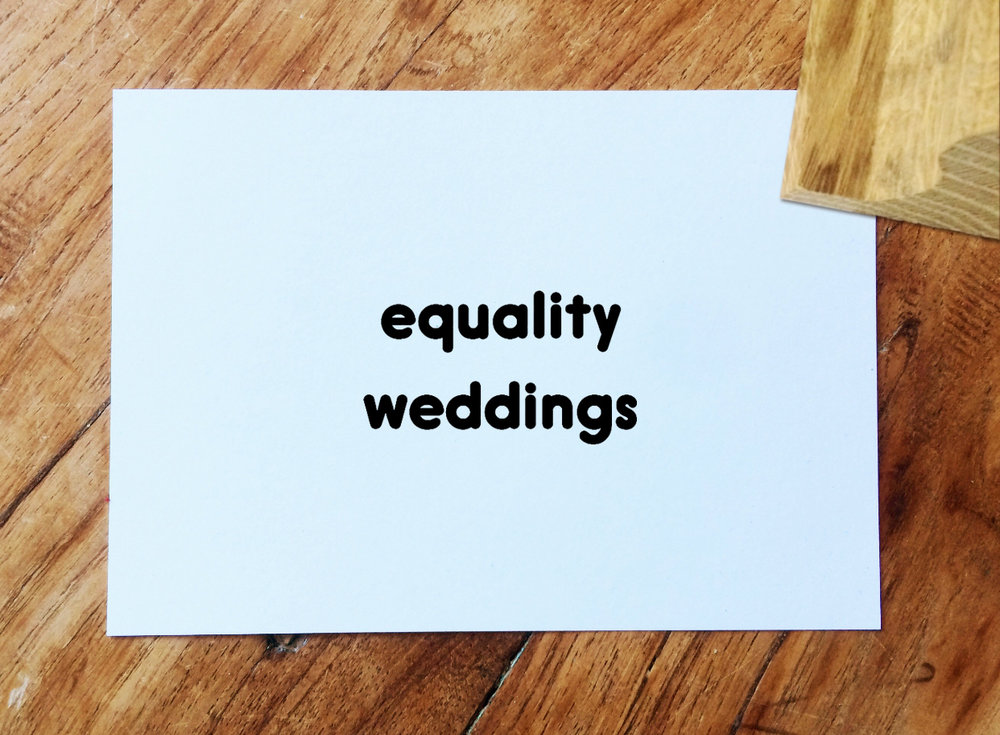 Mini equality weddings Ink Stamp - 2cm - £18 | Handmade in the UK | Environmentally sourced oak | Made to order | Alternative fonts available upon request