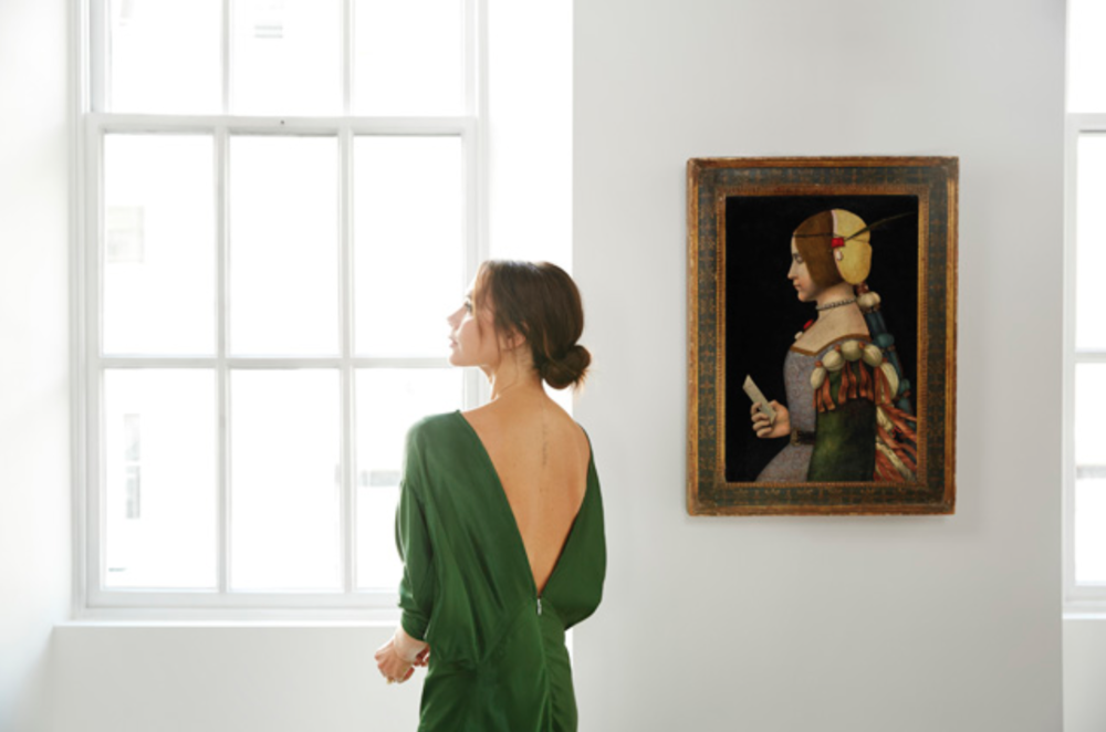 VICTORIA BECKHAM IN HER DOVER STREET STORE. PHOTOGRAPHED BY CHRIS FLOYD. CIRCLE OF LEONARDO DA VINCI,  PORTRAIT OF A LADY IN PROFILE  .