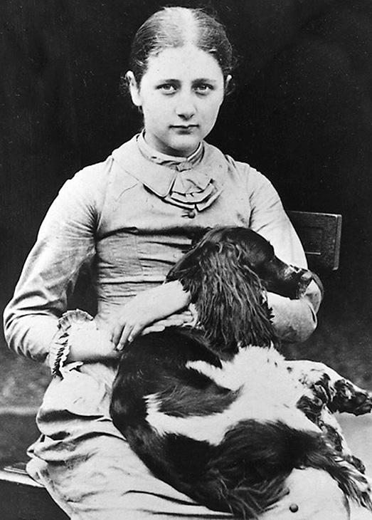 Beatrix Potter y su perro Spot.