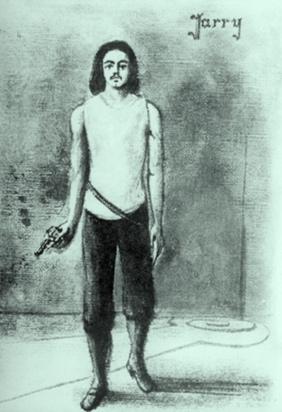 Autorretrato de Jarry con su pistola.
