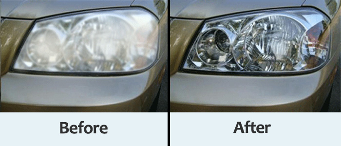 Headlights before after retoration
