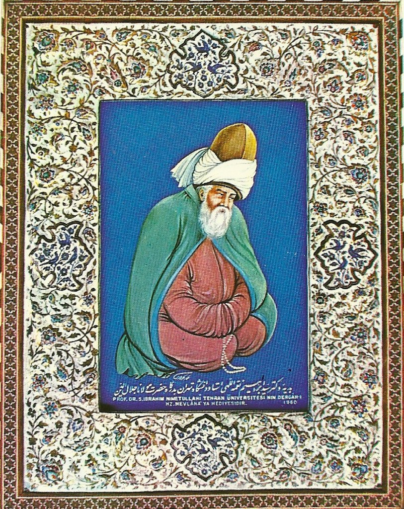 Rumi is a 13th Century Sufi mystic and poet. This poem was originally written in Persian/Farsi and Turkish. The text below is an English from a translation by Nader Khalli from Fountain of Life.