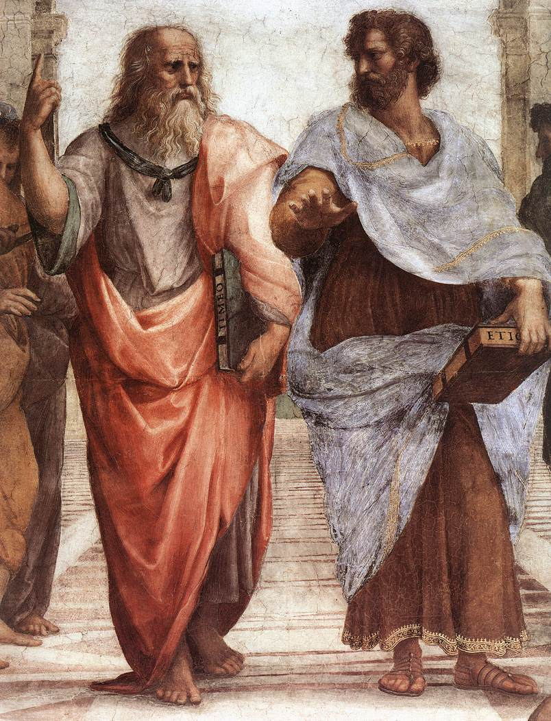 One points up to the Heavens, to ideas, one points down to the Earth: Plato and Aristotle (according to Raphael)