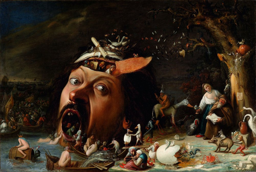 """Joos van Craesbeeck in his painting """"The Temptation of St Anthony"""" creates a light and a space that feels plausible. But the contents of the space, onto which the light naturally falls, are definitely not naturalistic. Like Hieronymus Bosch before him, he arranges characters and objects that both anchor the picture to the familiar world of his contemporary audience, while inviting them to contemplate a psychological dreamscape. rich with strange and hidden meanings, and a a sense of the strangeness of conscious experience."""