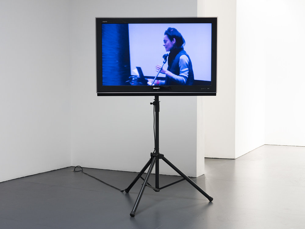 Luzie Meyer,  False Voice , 2018-19 (installation view) HD video of performance with overlaid audio