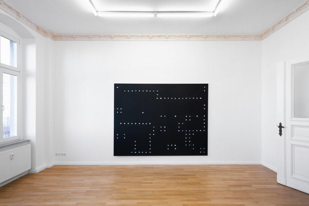 Installation view,  Cecilia  Jeff Zilm,  An Anti-Algorithmic Painting in Memory of Jack Burnham , 2019