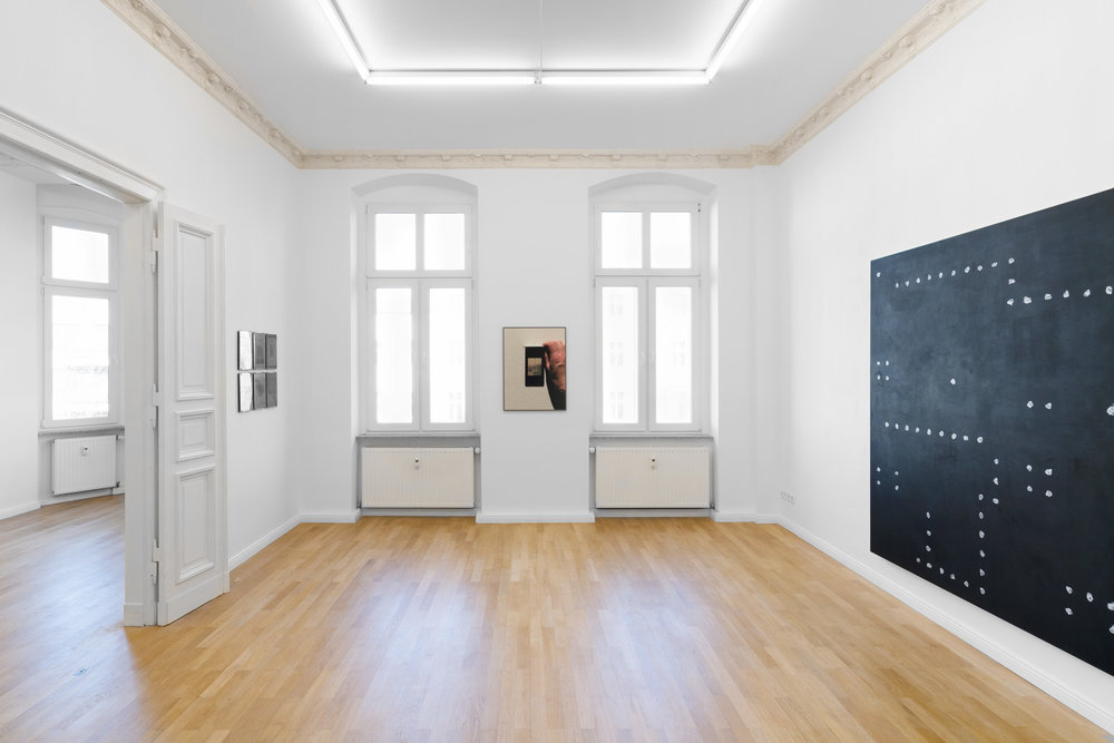 Installation view,  Cecilia  Left to right: Constantin Thun,  Untitled  (collection of six works), 2019; Morgaine Schäfer,  BWS 3825 (After Rainfall in Munich) , 2019; Jeff Zilm,  An Anti-algorithmic Painting in Memory of Jack Burnham , 2019