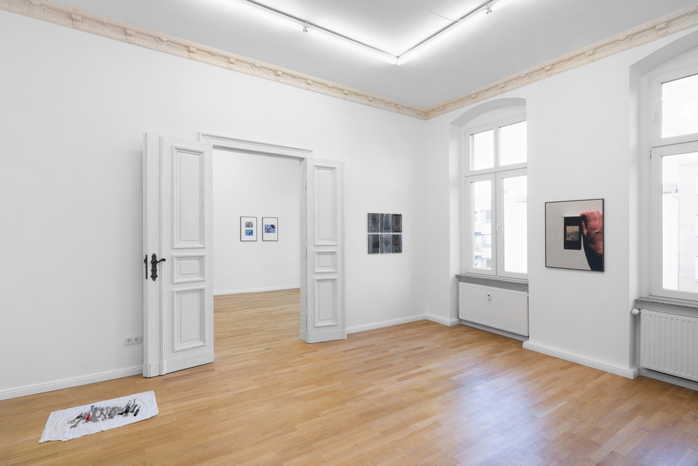 Installation view,  Cecilia  Left to right: Constantin Thun,  Untitled toolbox (Axel) , 2019; Anna-Sophie Berger,  Playproblems 2 , 2018; Anna-Sophie Berger,  Playproblems 4 , 2018; Constantin Thun,  Untitled  (collection of six works), 2019; Morgaine Schäfer,  BWS 3825 (After Rainfall in Munich) , 2019
