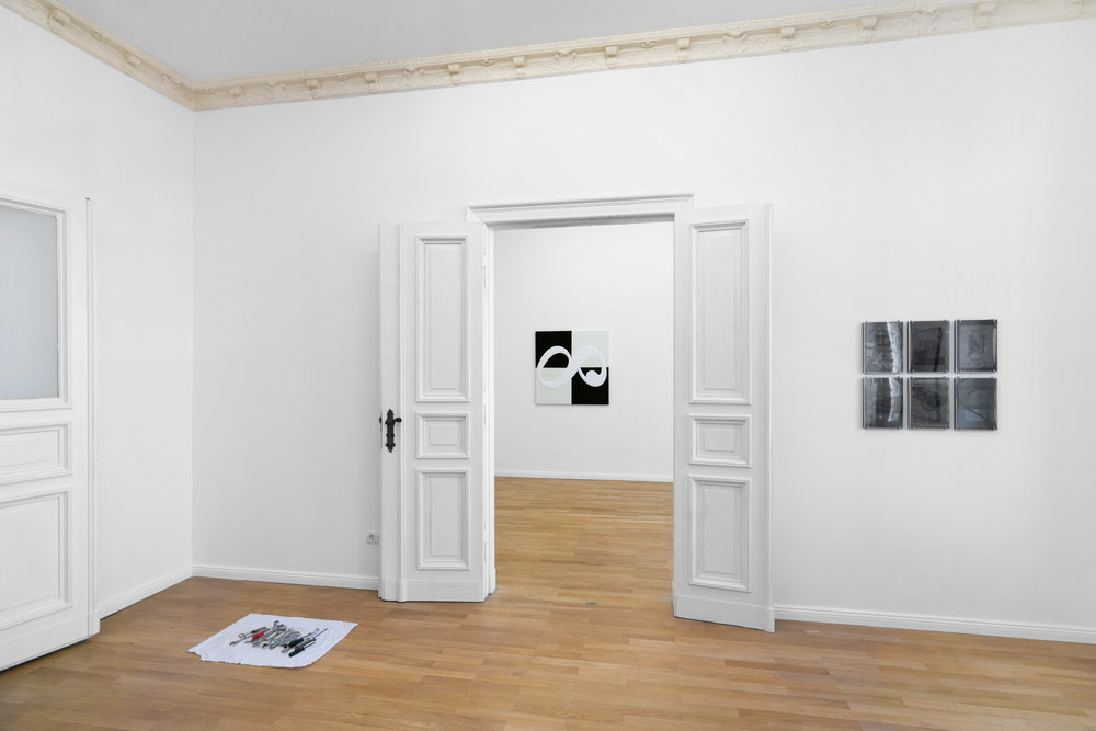 Installation view,  Cecilia  Left to right: Constantin Thun,  Untitled toolbox (Axel) , 2019; Benjamin Hirte,  Not yet titled , 2019; Constantin Thun,  Untitled  (collection of six works), 2019