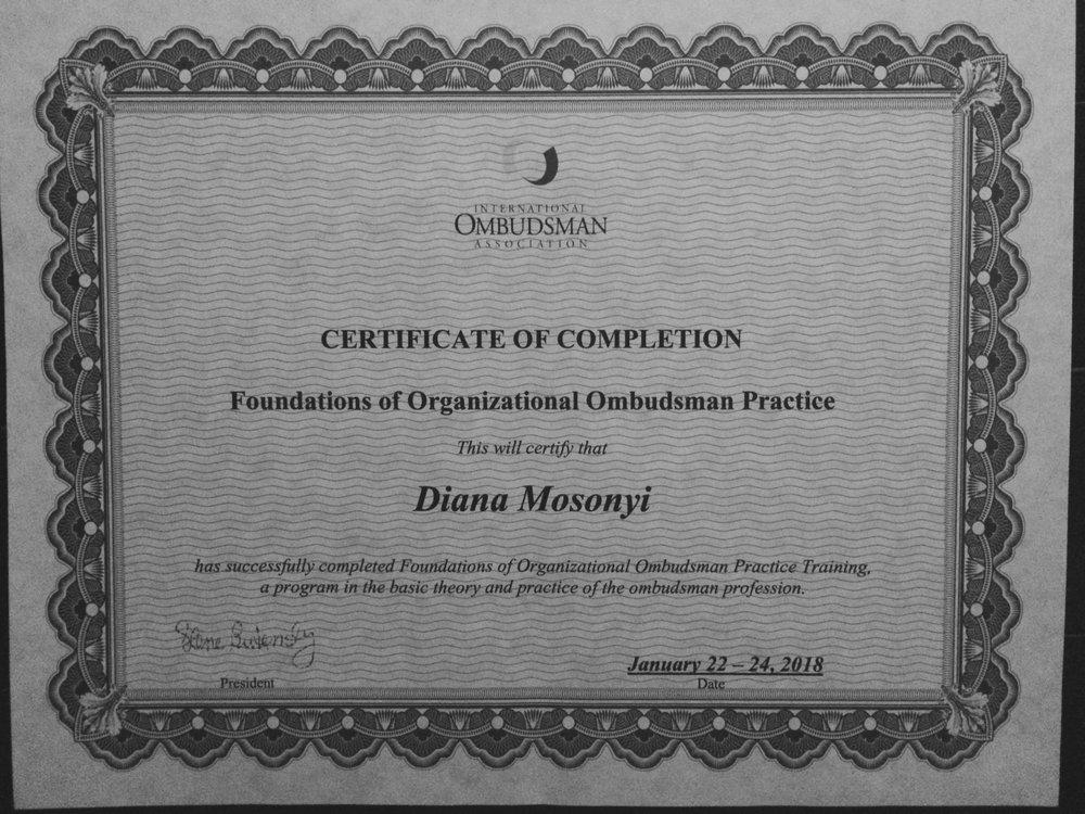 Szervezeti Ombuds - 2018. janurájában elvégeztem az IOA ombuds alapképzését.